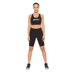 2XU Womens Form Lineup Hi Rise Bike Shorts, Black, rebel_hi-res