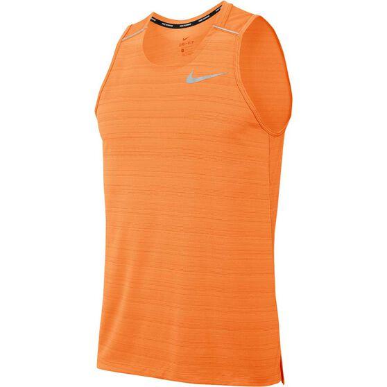 Nike Mens Dri-FIT Miler Running Tank, Orange, rebel_hi-res
