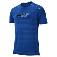 Nike Mens Dri-FIT Miler Flash Running Top Blue S, Blue, rebel_hi-res