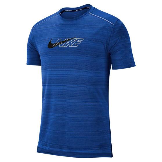 Nike Mens Dri-FIT Miler Flash Running Top, Blue, rebel_hi-res