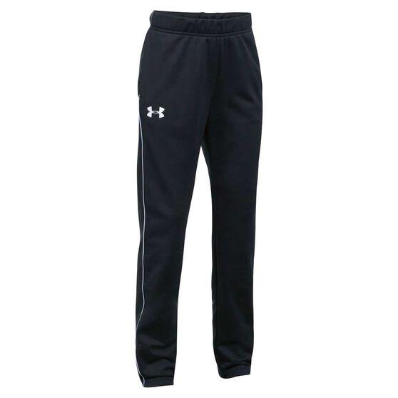 Under Armour Girls Track Pants, Black / White, rebel_hi-res