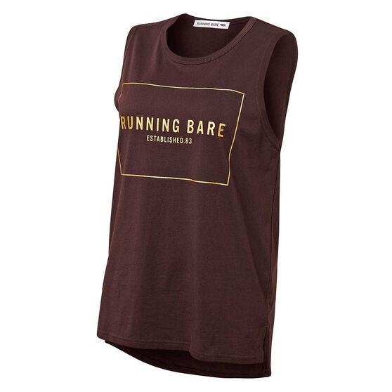 Running Bare Womens Easy Rider Muscle Tank Brown 8, Brown, rebel_hi-res