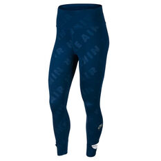 Nike Air Womens 7/8 Running Tights Blue XS, Blue, rebel_hi-res