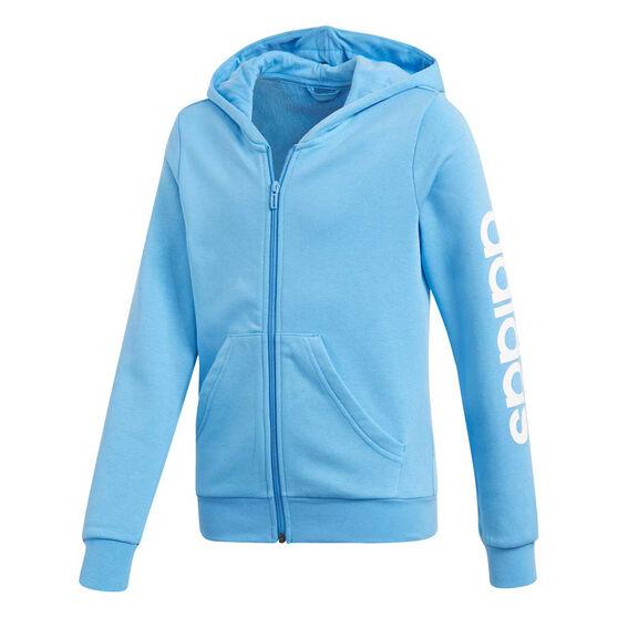 adidas Girls Essentials Linear Full Zip Hoodie, Blue / White, rebel_hi-res
