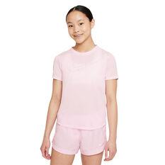 Nike Girls Dri-FIT One Graphic Tee Pink/Grey XS, , rebel_hi-res