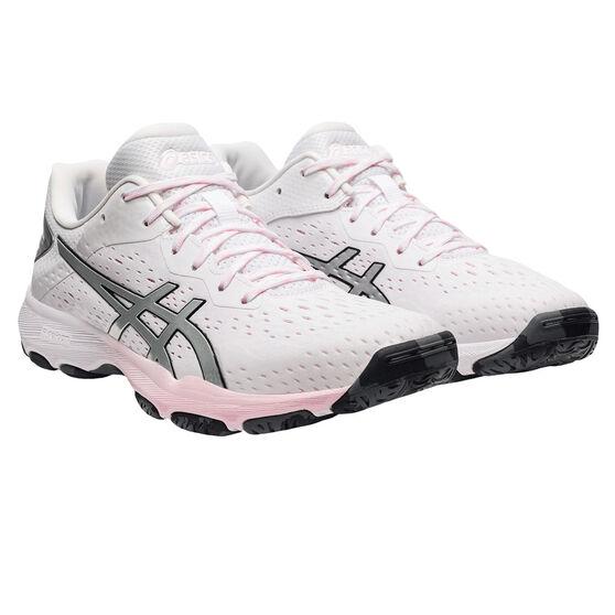 Asics GEL Netburner Professional 2 Womens Netball Shoes, White/Silver, rebel_hi-res