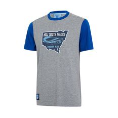NSW Blues State of Origin Mens Forever Blue State Tee Grey / Blue S, Grey / Blue, rebel_hi-res