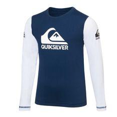 Quiksilver Toddler Boys Heat On Rash Vest Blue / White 2, Blue / White, rebel_hi-res