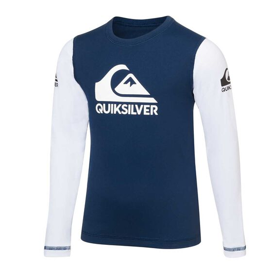 Quiksilver Toddler Boys Heat On Rash Vest, Blue / White, rebel_hi-res