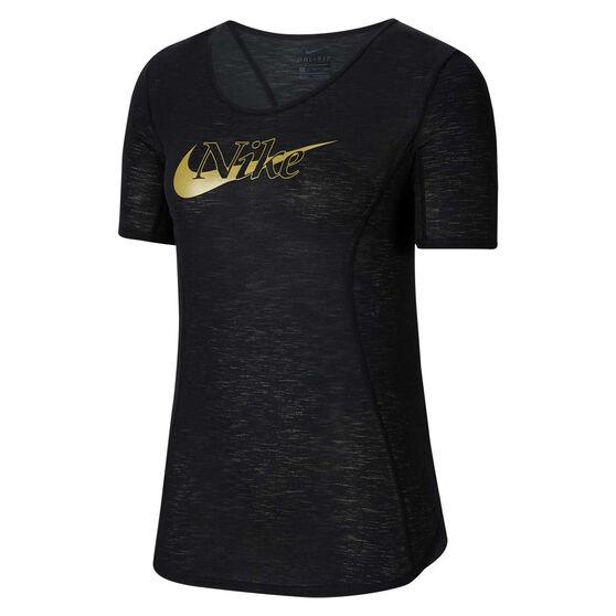Nike Womens Icon Clash 10K Running Tee, Black, rebel_hi-res