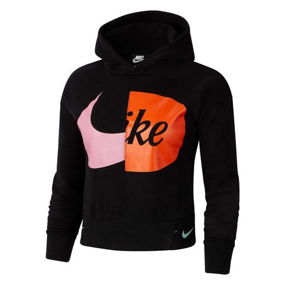 Nike Girls Sportswear Fleece Hoodie, Black, rebel_hi-res