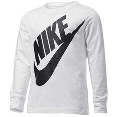 Nike Boys Jumbo Futura Long Sleeve Tee White 4, White, rebel_hi-res