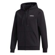 adidas Mens Essentials Full Zip Fleece Hoodie Black S, Black, rebel_hi-res