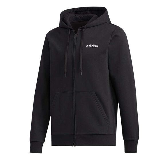 adidas Mens Essentials Full Zip Fleece Hoodie, Black, rebel_hi-res