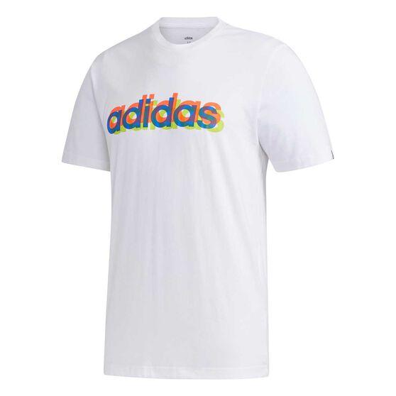 adidas Mens Overlap Tee White L, White, rebel_hi-res