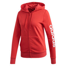 adidas Womens Essentials Linear Full Zip Hoodie Red XS, Red, rebel_hi-res