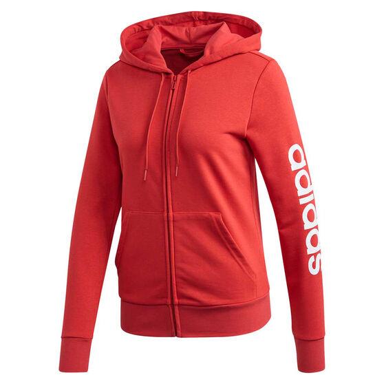 adidas Womens Essentials Linear Full Zip Hoodie, Red, rebel_hi-res