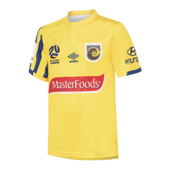 Central Coast Mariners 2019/20 Kids Home Jersey Gold 14, Gold, rebel_hi-res