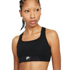 Nike Air Womens Dri-FIT Swoosh Sports Bra Black XS, Black, rebel_hi-res