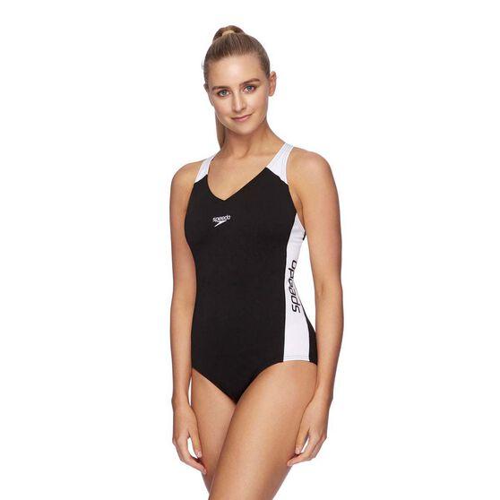 Speedo Womens Splice Swimsuit, Black/White, rebel_hi-res