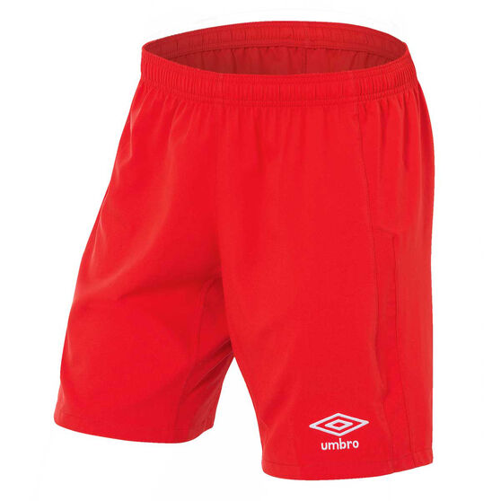 Umbro Mens League Knit Shorts, Red, rebel_hi-res