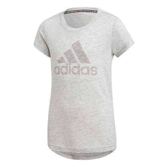 adidas Girls Must Haves Tee, White / Black, rebel_hi-res