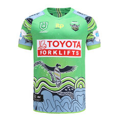 Canberra Raiders 2021 Mens Indigenous Jersey Green S, Green, rebel_hi-res