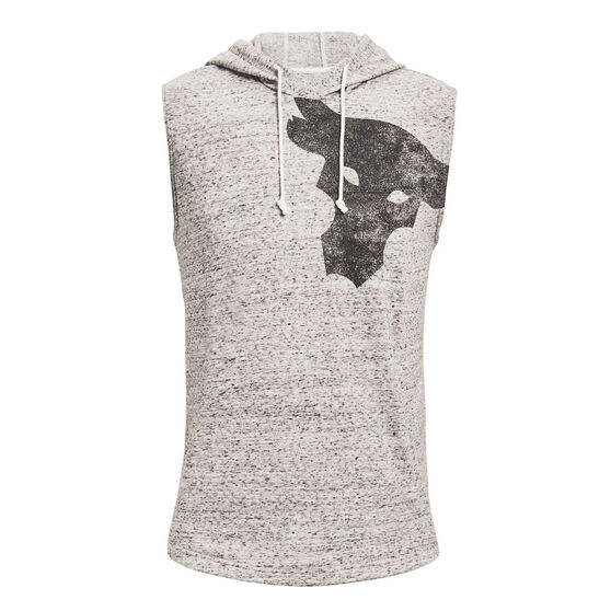 Under Armour Mens Project Rock Terry Sleeveless Hoodie, White, rebel_hi-res