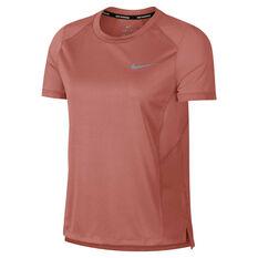 Nike Womens Miler Tee Pink XS, Pink, rebel_hi-res