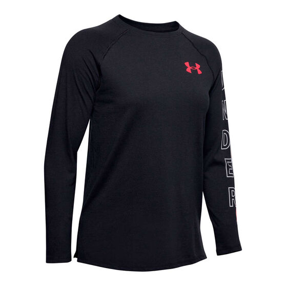 Under Armour Womens Graphic Top, Black, rebel_hi-res