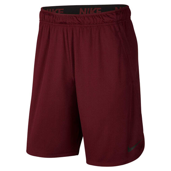 Nike Mens Dri-FIT Woven 9in Training Shorts Maroon S, Maroon, rebel_hi-res