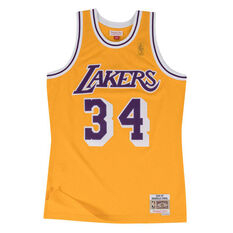 Los Angeles Lakers Shaquille O'Neal 96/97 Swingman, Yellow, rebel_hi-res