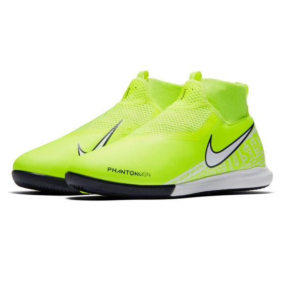 Nike Phantom Vision Academy Dynamic Fit Kids Indoor Soccer Shoes, Green / White, rebel_hi-res