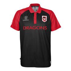 St George Illawarra Dragons 2021 Mens Polo, Black, rebel_hi-res