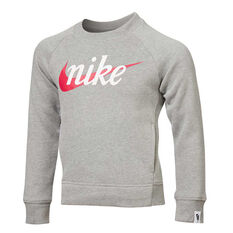 Nike Girls Sportswear Crew Sweatshirt Grey 4, Grey, rebel_hi-res