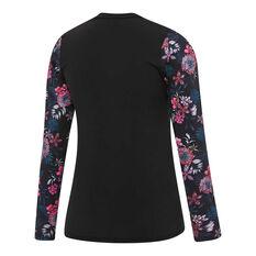 Speedo Womens Eco Fabric Longsleeve Zip Rash Vest Black / Print 8, Black / Print, rebel_hi-res