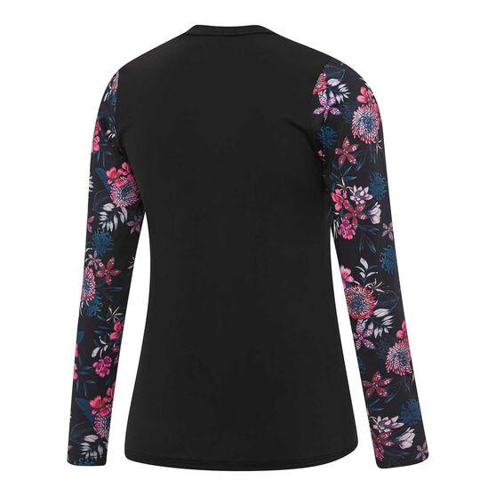 Speedo Womens Eco Fabric Longsleeve Zip Rash Vest, Black / Print, rebel_hi-res
