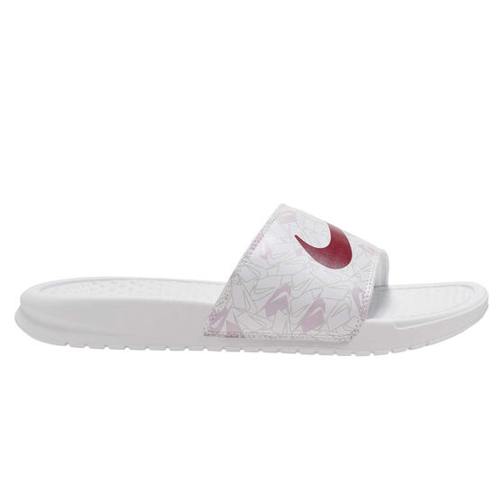Nike Benassi Just Do It Womens Slides, White/Red, rebel_hi-res