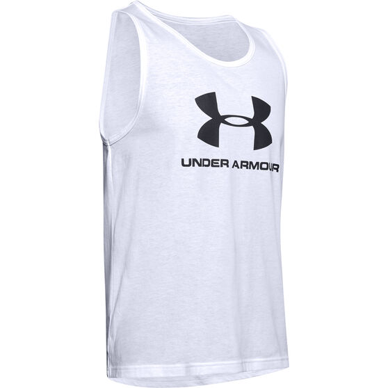 Under Armour Mens Sportstyle Tank, White, rebel_hi-res