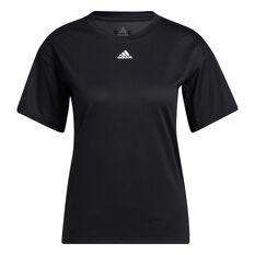 adidas Womens Training 3-Stripes AEROREADY Tee, Black, rebel_hi-res