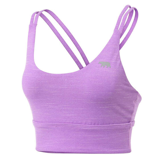 Running Bare Womens Lotus Long Line Sports Bra, Purple, rebel_hi-res
