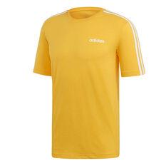 adidas Mens Essentials 3-Stripes Tee Gold XS, Gold, rebel_hi-res