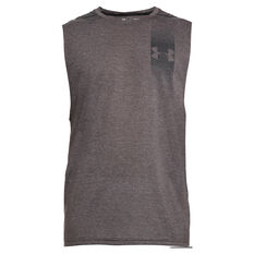 Under Armour Mens Threadborne Graphic Muscle Tank Charcoal XS, Charcoal, rebel_hi-res