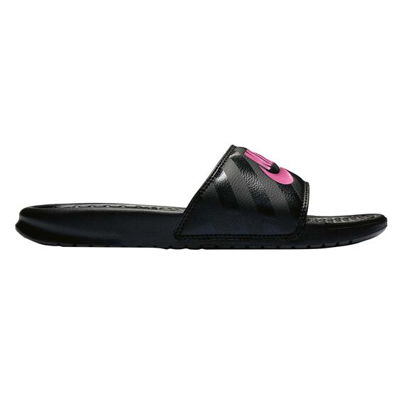 Nike Benassi Just Do It Womens Slides Black / Pink US 11, Black / Pink, rebel_hi-res