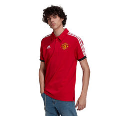 Manchester United 2021/22 Mens 3-Stripes Polo Red S, Red, rebel_hi-res