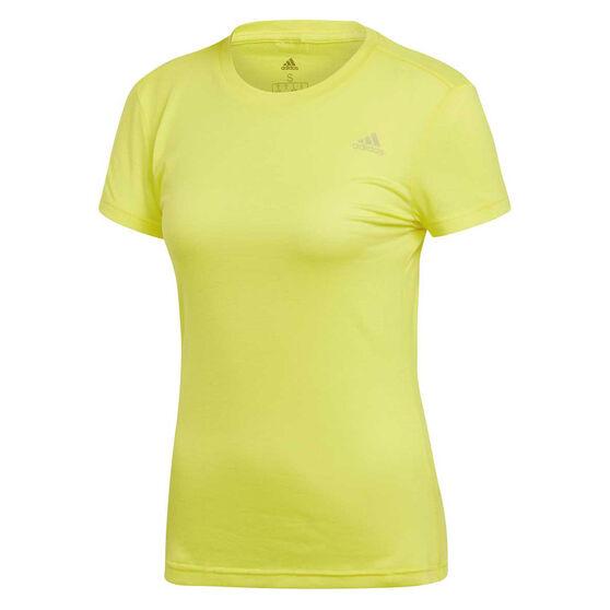 adidas Womens FreeLift Prime Tee, Yellow, rebel_hi-res