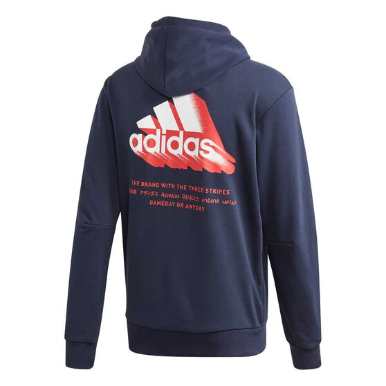 adidas Mens Must Have Essential Graphic Hoodie, Blue, rebel_hi-res