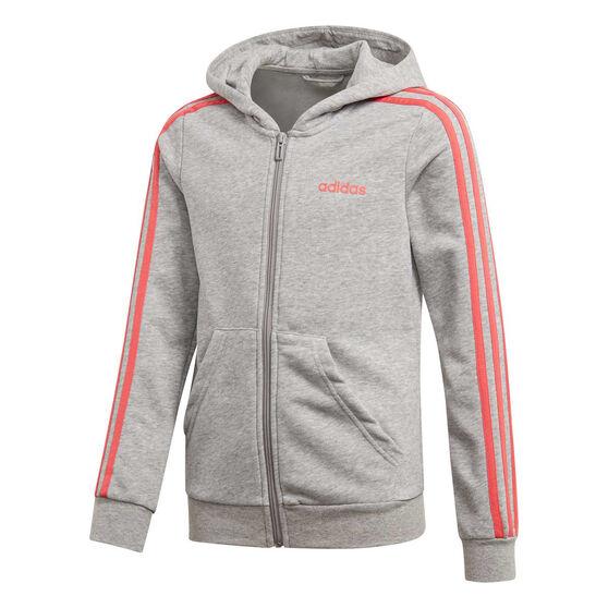 adidas Girls 3 Stripes Full Zip Hoodie, , rebel_hi-res