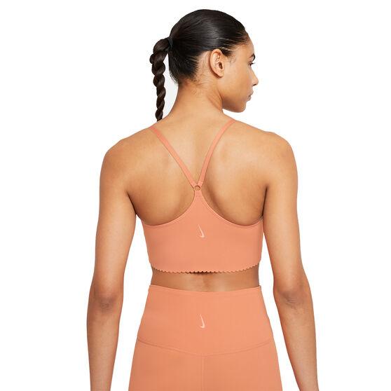Nike Yoga Womens Indy Dri-FIT Sports Bra, Orange, rebel_hi-res