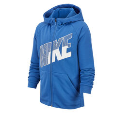 Nike Dri-FIT Boys Full Zip Graphic Training Hoodie Blue / White XS, Blue / White, rebel_hi-res